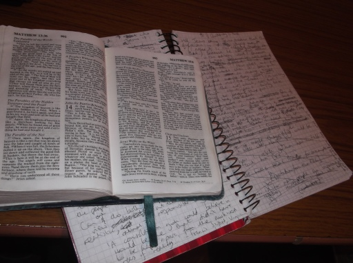 Bible and notebook.