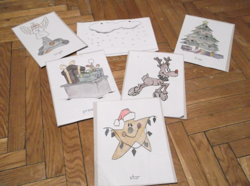 Christmas flashcards (yay).