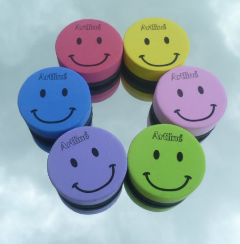 Magnetic smiley-face whiteboard erasers. It doesn't get much better than magnetic smiley-face whiteboard erasers.
